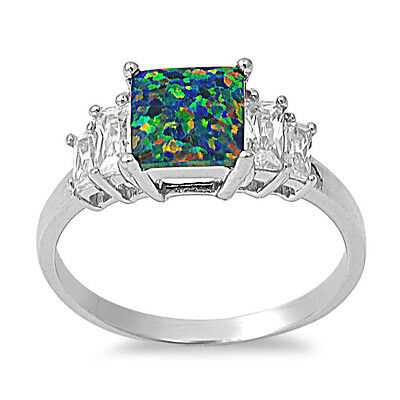.925 Sterling Silver Princess Cut Black Lab Opal CZ Promise Ring Size 5-10 NEW