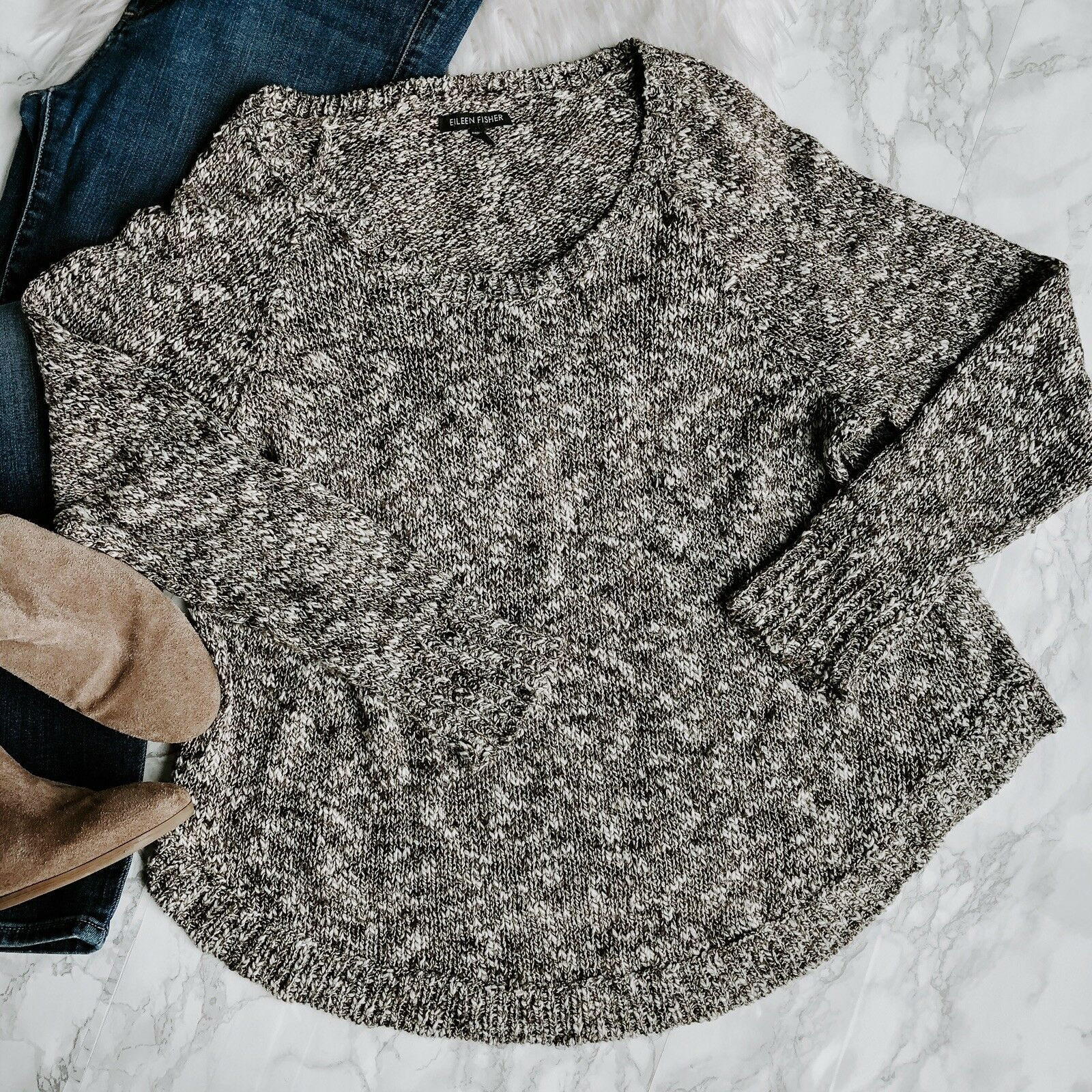 Eileen Fisher Sweater Brown Scoop Neck Oversized Marled Knit Womens M