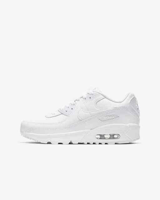 Nike Air Max 90 Ltr GS White Leather Womens Youth Lifestyle Shoes Cd6864-100 7y