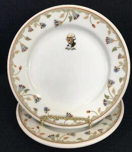 Syracuse-China-Restaurant-Ware-2-George-Washington-Egyptian-Lotus-7-Plates-USA
