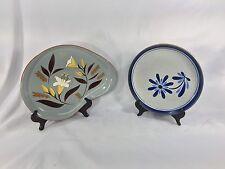 """2 Vintage STANGL GOLDEN HARVEST 13"""" Oval Platter Kidney Shape Plate Blue Floral"""