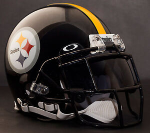 c1c92641 Image is loading CUSTOM-PITTSBURGH-STEELERS-NFL-Riddell-Deluxe-REPLICA- Football-