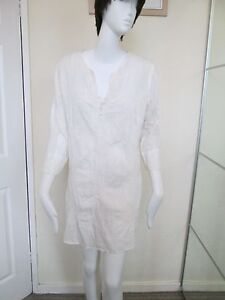 NEW-LOOK-WHITE-CREAM-FLORAL-LONG-SLEEVED-BUTTON-FRONT-MINI-DRESS-SIZE-10