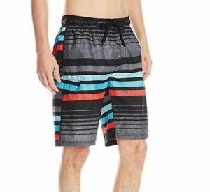 e892d875b1 Kanu Surf Mens Large Black Stripe Swim Trunks Shorts | eBay