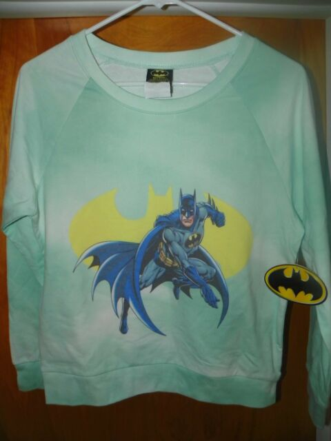 NEW DC Comics Green BATMAN Pullover Sweater Women / Juniors XL X-LARGE 15/17 E19
