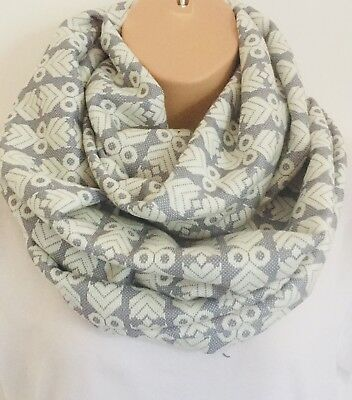 Perfect Gift Vibrant White Butterfly Print Circle Loop Infinity Scarf Snood