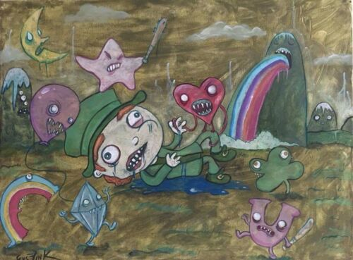 GUS FINK art outsider graffiti painting ooak lowbrow surreal UN LUCKY CHARMS