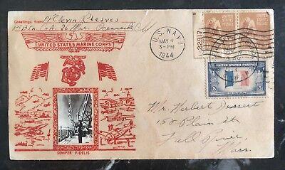1944 Usa Marineblau Postfiliale Patriotische Abdeckung Oceanside Ca,fall River Herausragende Eigenschaften Briefmarken Usa
