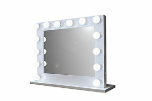 grand hollywood impact lighted vanity mirror w led bulbs double outlet. Black Bedroom Furniture Sets. Home Design Ideas