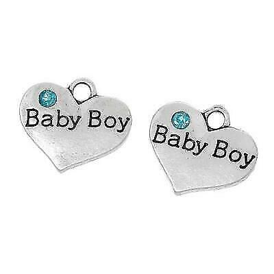 Baby Boy Charm//Pendant Zinc Rhinestone Antique Silver 18mm  5 Charms Accessory