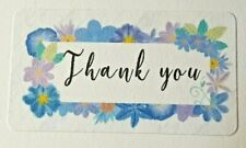 325 X Thank You Sticky Labels Blue Floral Flowers Matte Labels Stickers T1
