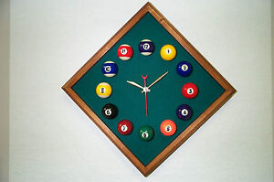 Billiard Wall Clock Octagon Mahogany Frame Standard Green Felt