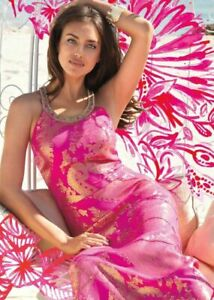 New-Lily-Pulitzer-Franconia-Halter-Jewel-Silk-Maxi-dress-Fuchsia-Pink-Gold-4-6-8