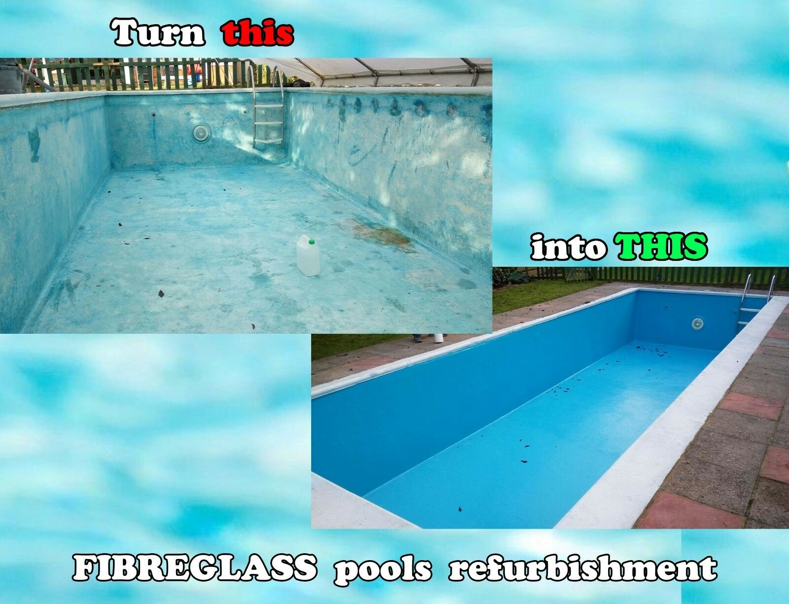 FIBREGLASS SWIMMING POOL refurbishment renovation restoration Any colour /m2
