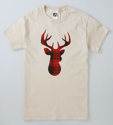 Deer Christmas T-shirt Yule Stag Nativity Tartan Tee Festive Xmas Moose Snow Top