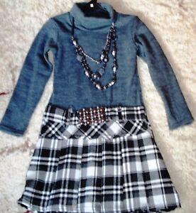 2019 Mode Aufwendiges Kleid Mit Kette,grau-schwarz-beige,122-128 Schnelle WäRmeableitung