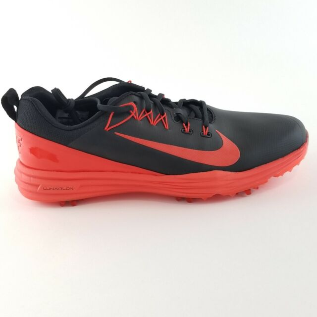 Nike Size 11 Golf Shoes Lunar Command 2 Black Max Orange 849968 001 Mens