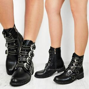 fab6b8bb3e62 New Womens Ladies Studded Buckle Ankle Boots Chelsea Biker ...