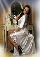 Nine X Satin Long Dressing Gown Kimono Plus Size 8-26 S-7XL White Robe Wedding