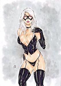 Details About Black Cat Original Art By Junior Sexy Spider Man Villain 11 X 17 Drawing