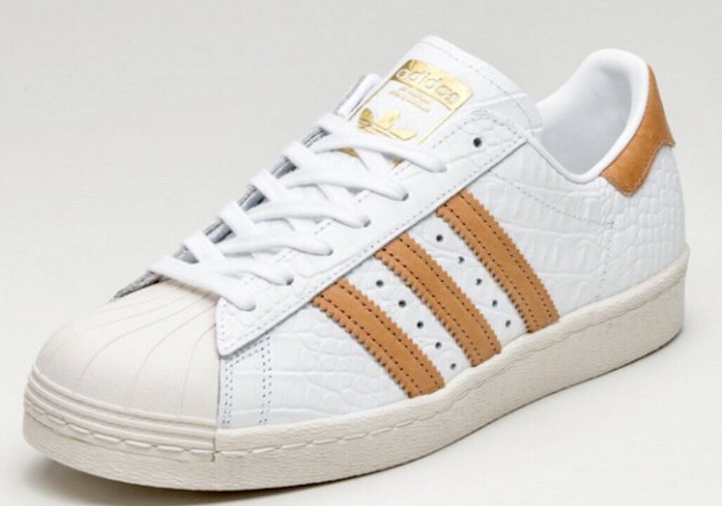 ADIDAS ORIGINALS SUPERSTAR 80S CROC LEATHER MENS SHOES SIZE US 10.5 WHITE Cheap and beautiful fashion