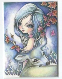 ACEO S/N L/E WINTER PIXIE GIRL DEER BUCK STAG OAK TREE ACORNS FANTASY RARE PRINT