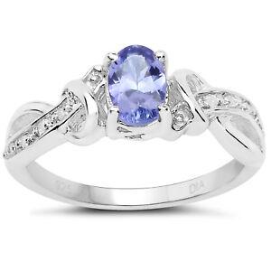Plata-de-Ley-Ovalado-Tanzanita-y-Diamante-Compromiso-Anillo-con-Cruzado-Diamante