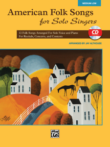 """american Folk Songs For Solo Singers"" Medium Low Voice Music Book/cd-new-sale!"