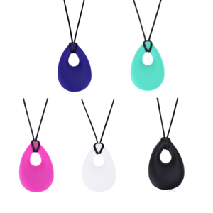 Teardrop-Autism-ADHD-Sensory-Chew-Silicone-Necklace-Pendant-BPA-Free-UK-Seller