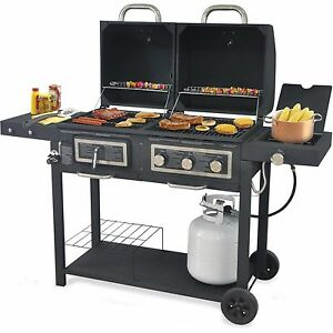 Hybrid Bbq Grill Gas Charcoal 24 000 Btu Cast Iron Grid