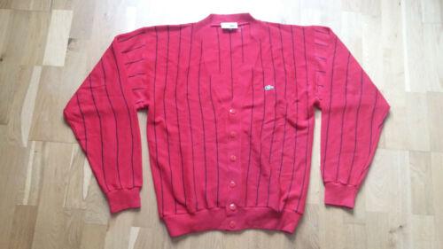 Stripes Vintage Cardigan Lacoste Red Sweater Rare Tennis Large wPAqOKT