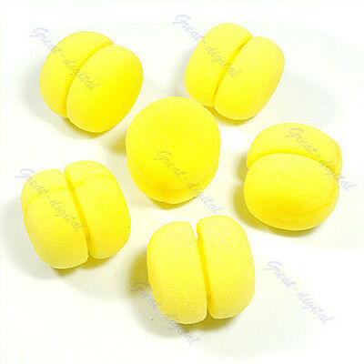 DIY 6 pcs Soft Sponge Hair Care Curler Rollers Balls Yellow