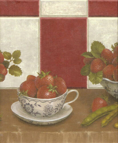 STRAWBERRIES IN BOWL CUP on SHELF RED /& WHITE CHECK Wallpaper bordeR Wall