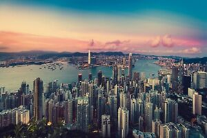 Hong-Kong-Skyline-Cityscape-City-Landscape-Wall-Art-Poster-Canvas-Pictures