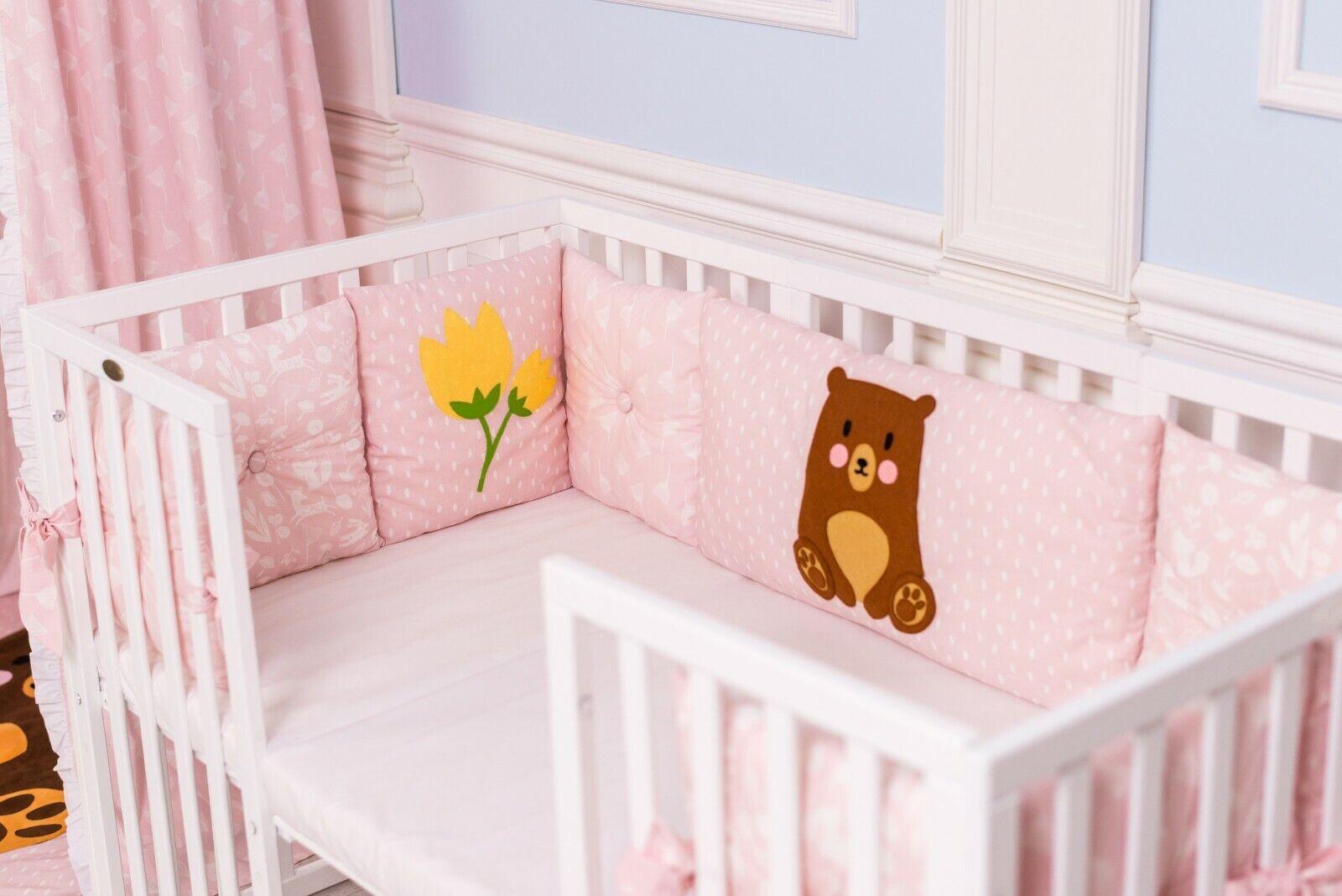 Baby Bettset 11-teilig aus 100% Baumwolle - Bärchen im Frühling - Handarbeit