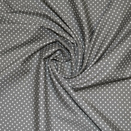 CP0009 White on Grey Polka Dot Fabric 3mm