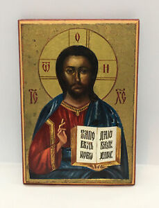 Small-Vintage-hand-painted-Russian-Orthodox-icon-Jesus-Christ-Signed-LUKIANOV