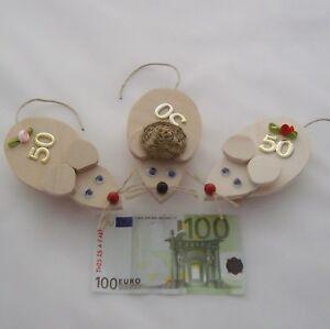 Details zu 1 Geldgeschenk Geldmaus 50. Geburtstag Jubiläum Gutschein  verschiedene Mäuse