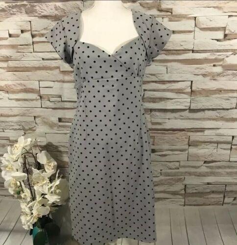 Collectif Polka Dots Gray Dress Sz L (I09)