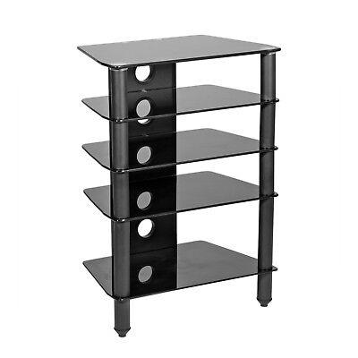 4 Shelves Glass Media Component TV Stand Audio Stereo Hi-Fi AV Cabinet Rack