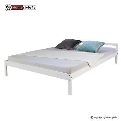 Holzbett Doppelbett Futonbett Kiefer Bett Bettgestell Massivholz 140x200 weiß