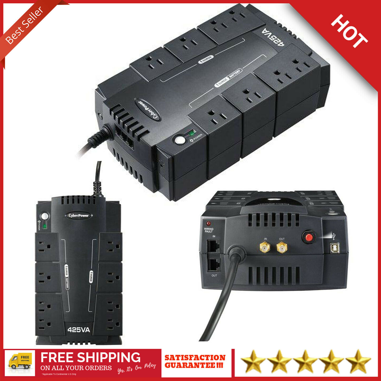 Details about 8 Outlet UPS Battery Backup Computer Uninterruptible Power  Supply Surge Protect