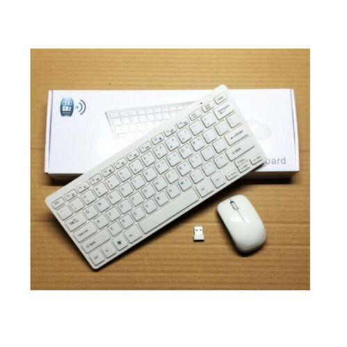 KIT TASTIERA MOUSE SENZA FILI MINI WIFI WIRELESS PC 2.4GHz KEYBOARD USB BIANCA