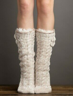 Charcoal 2 PR Lemon Ladies Slipper Socks Plush Crew Cable Chalk NEW
