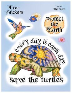 SAVE-THE-TURTLES-EARTH-ECO-VINYL-STICKER-DECAL-SET