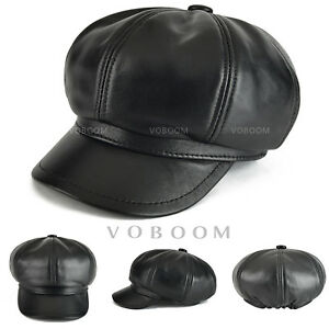 416fb673b996d8 Image is loading VOBOOM-Leather-Newsboy-Cap-Black-100-Sheepskin-Newsboy-