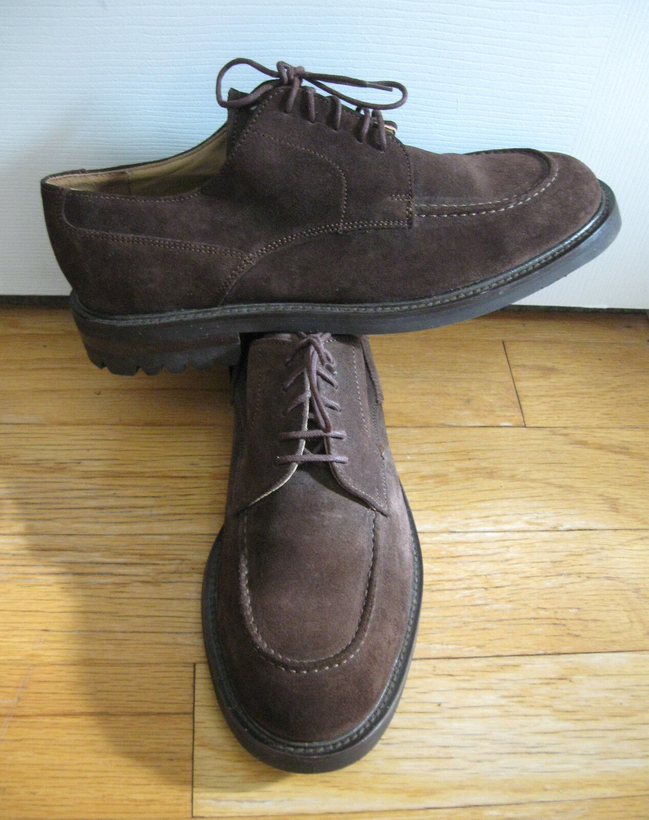 GAP SHOES TRADITIONAL STYLE MEN'S BROWN SUEDE OXFORDS SIZE 9.5 D MADE IN ITALY