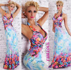 Sexy A-Line Floral Print Long Maxi Halter Dress Formal Summer Size 8 10 12 S M L
