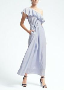 NWT-Banana-Republic-Blue-White-Stripe-One-Shoulder-Ruffle-Belted-Maxi-Dress-L