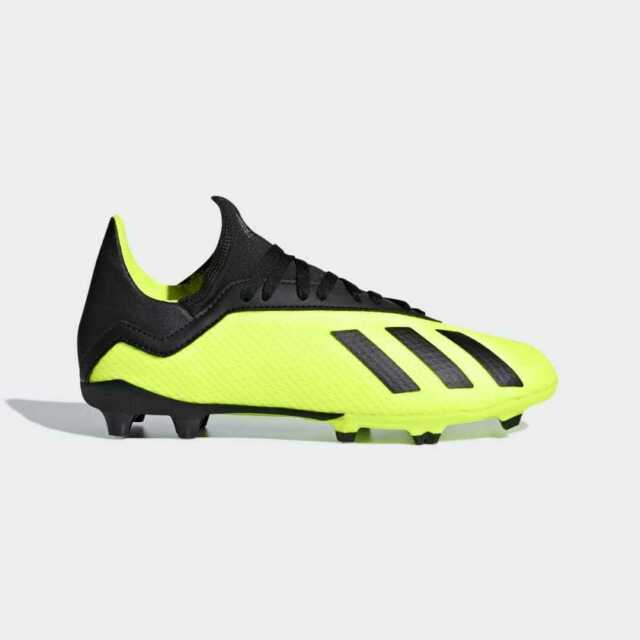 Youth Adidas Kids X 18.3 FG Soccer Cleats (Solar Yellow/Black) DB2418*